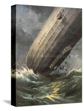 'Akron' Crashes 1933-Achille Beltrame-Stretched Canvas Print