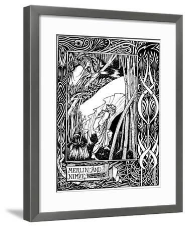 Merlin and Nimue-Aubrey Beardsley-Framed Giclee Print