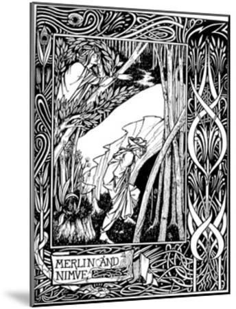 Merlin and Nimue-Aubrey Beardsley-Mounted Giclee Print