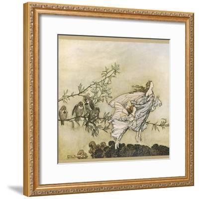 Two Flying-Arthur Rackham-Framed Giclee Print
