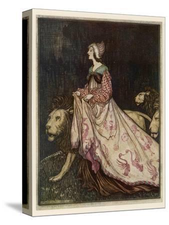 The Lady and the Lion-Arthur Rackham-Stretched Canvas Print