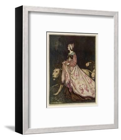 The Lady and the Lion-Arthur Rackham-Framed Premium Giclee Print