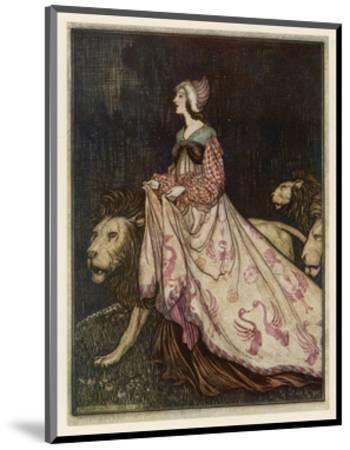 The Lady and the Lion-Arthur Rackham-Mounted Premium Giclee Print