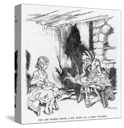 Writing on a Fish-Arthur Rackham-Stretched Canvas Print