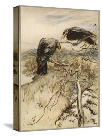 Ballad, Twa Corbies-Arthur Rackham-Stretched Canvas Print