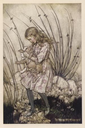Alice Holds the Baby Pig-Arthur Rackham-Stretched Canvas Print