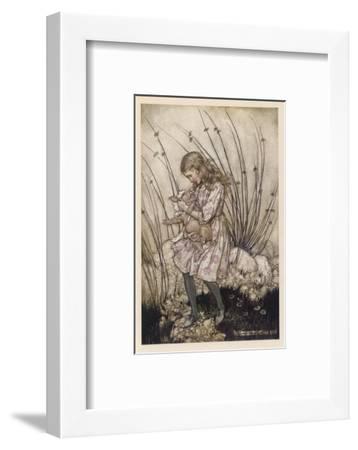 Alice Holds the Baby Pig-Arthur Rackham-Framed Giclee Print