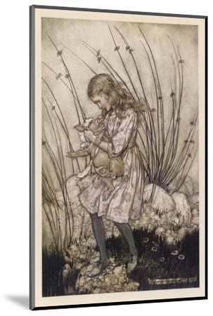 Alice Holds the Baby Pig-Arthur Rackham-Mounted Giclee Print