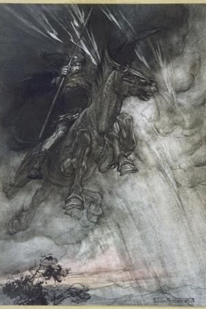 Odin, Wotan Rides, Rackham-Arthur Rackham-Stretched Canvas Print
