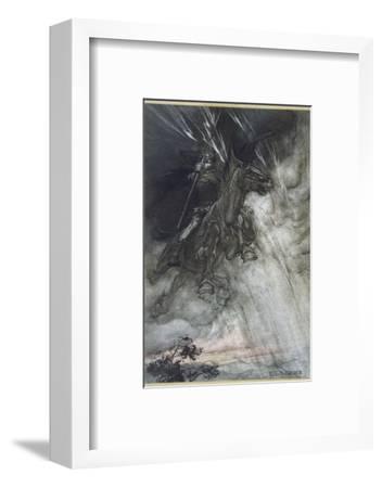 Odin, Wotan Rides, Rackham-Arthur Rackham-Framed Giclee Print