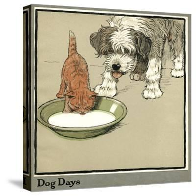 Rufus the Cat Drinks from a Bowl, Watched by a Dog-Cecil Aldin-Stretched Canvas Print