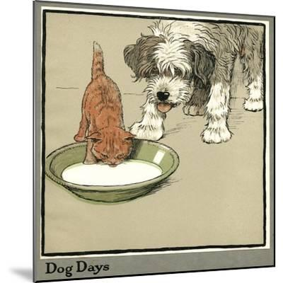Rufus the Cat Drinks from a Bowl, Watched by a Dog-Cecil Aldin-Mounted Giclee Print