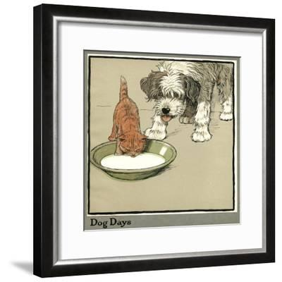 Rufus the Cat Drinks from a Bowl, Watched by a Dog-Cecil Aldin-Framed Giclee Print