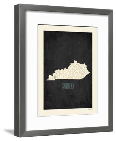 Black Map Kentucky-Kindred Sol Collective-Framed Art Print