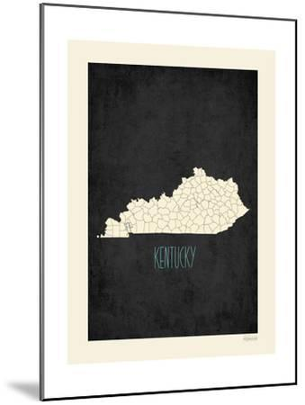 Black Map Kentucky-Kindred Sol Collective-Mounted Art Print