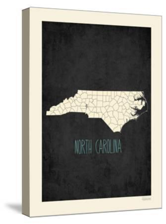 Black Map North Carolina-Kindred Sol Collective-Stretched Canvas Print