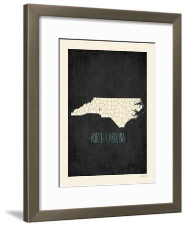 Black Map North Carolina-Kindred Sol Collective-Framed Art Print
