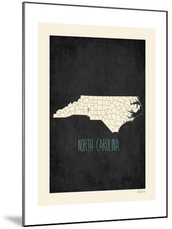 Black Map North Carolina-Kindred Sol Collective-Mounted Art Print