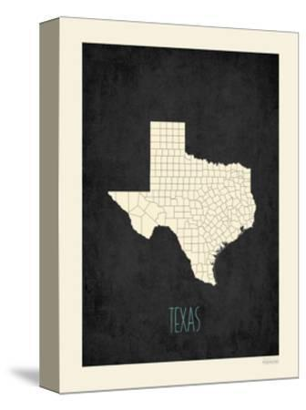 Black Map Texas-Kindred Sol Collective-Stretched Canvas Print