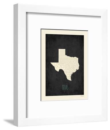 Black Map Texas-Kindred Sol Collective-Framed Art Print