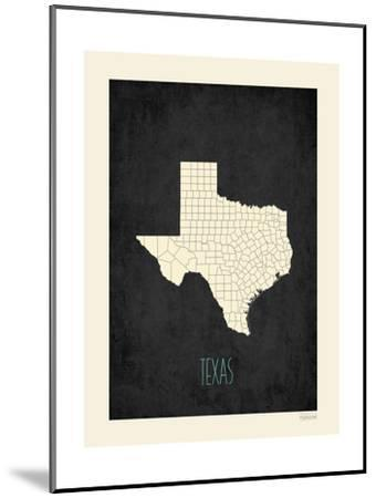 Black Map Texas-Kindred Sol Collective-Mounted Art Print