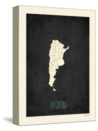 Black Map Argentina-Kindred Sol Collective-Stretched Canvas Print