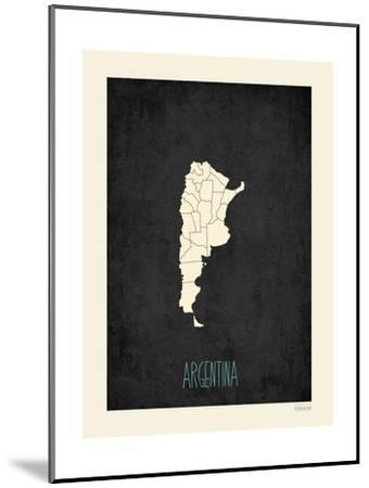 Black Map Argentina-Kindred Sol Collective-Mounted Art Print
