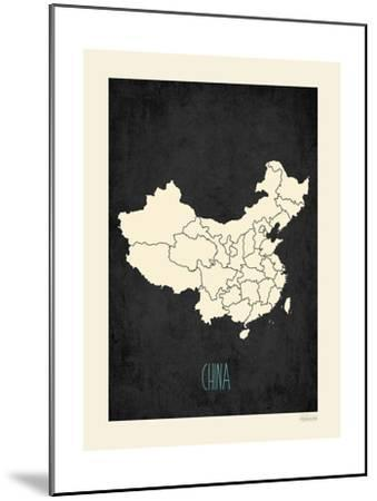 Black Map China-Kindred Sol Collective-Mounted Art Print