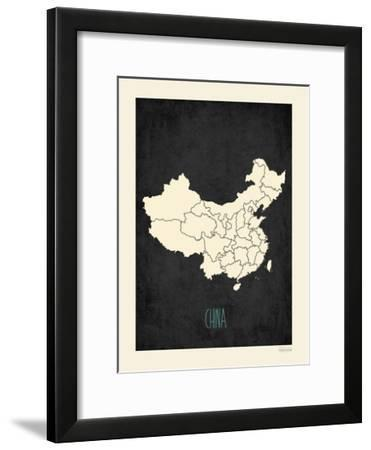 Black Map China-Kindred Sol Collective-Framed Art Print