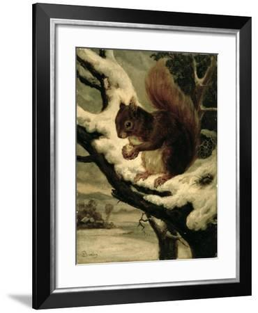 A Red Squirrel Eating a Nut-Basil Bradley-Framed Giclee Print