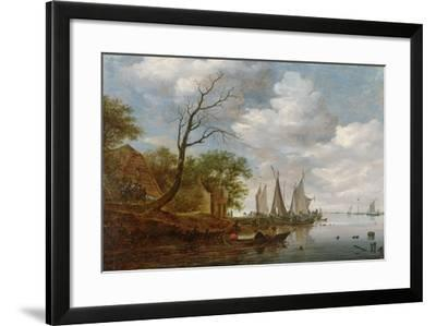 River Scene with Sailing Boats Unloading at the Shore-Salomon van Ruisdael-Framed Giclee Print