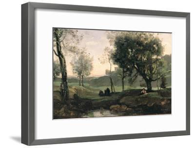 Sunset: Figures under Trees-Jean-Baptiste-Camille Corot-Framed Giclee Print