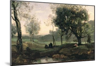 Sunset: Figures under Trees-Jean-Baptiste-Camille Corot-Mounted Giclee Print