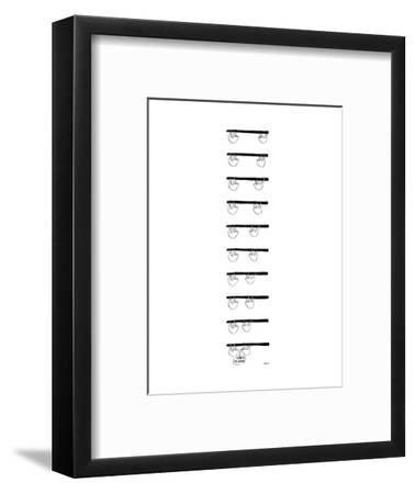 A 9-frame cartoon a sloth on a branch almost imperceptibly moving toward a? - New Yorker Cartoon-Edward Steed-Framed Premium Giclee Print