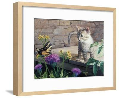 Kitten and Butterfly-Kevin Dodds-Framed Giclee Print