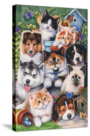 Kittens and Puppies in the Garden-Jenny Newland-Stretched Canvas Print