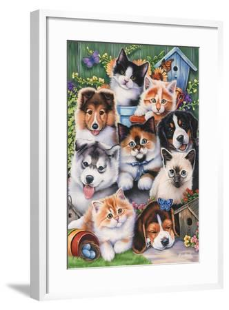 Kittens and Puppies in the Garden-Jenny Newland-Framed Giclee Print