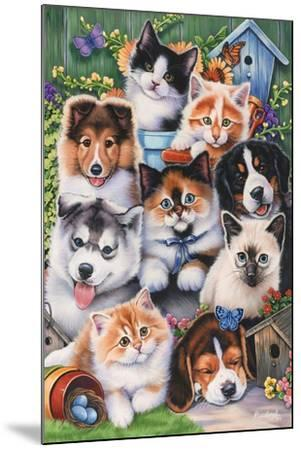 Kittens and Puppies in the Garden-Jenny Newland-Mounted Giclee Print