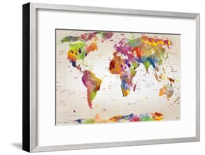 Map of the World-Mark Ashkenazi-Framed Giclee Print