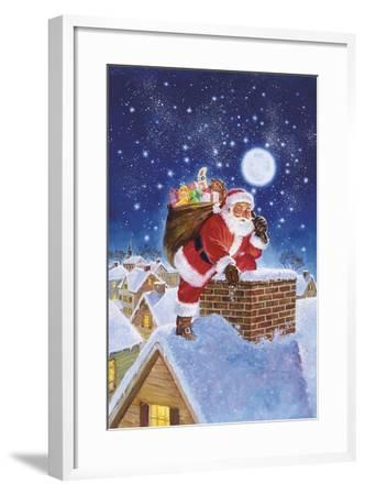Santa on Rooftop-Hal Frenck-Framed Giclee Print