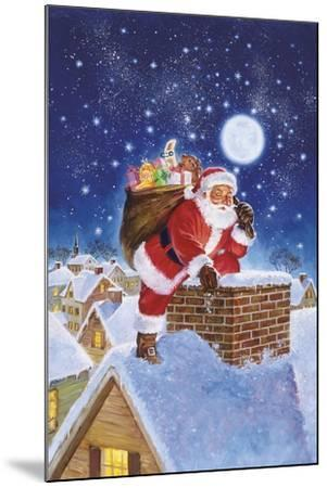 Santa on Rooftop-Hal Frenck-Mounted Giclee Print