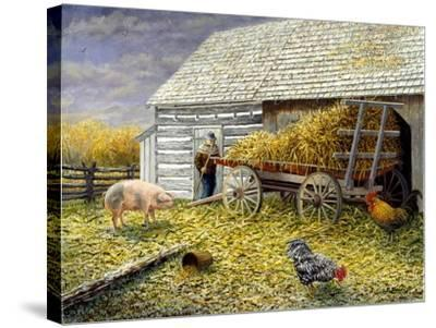 Pig and Chickens-Kevin Dodds-Stretched Canvas Print