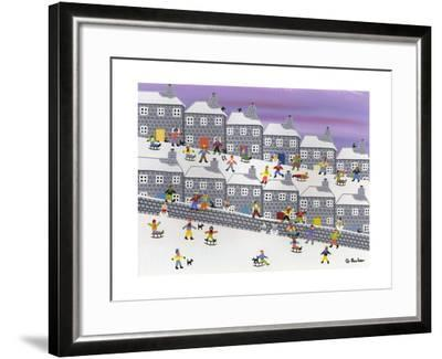 Sledding in the Streets-Gordon Barker-Framed Giclee Print