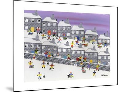 Sledding in the Streets-Gordon Barker-Mounted Giclee Print