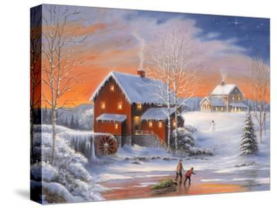 Winter at the Old Mill-John Zaccheo-Stretched Canvas Print