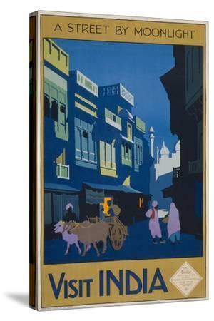 A Street by Moonlight - Visit India--Stretched Canvas Print