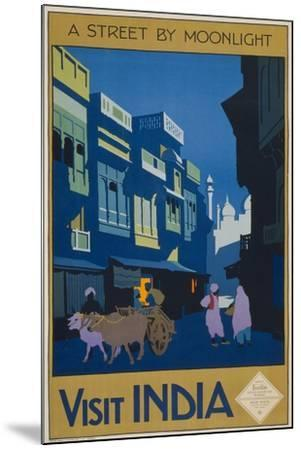 A Street by Moonlight - Visit India--Mounted Giclee Print