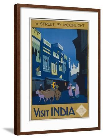 A Street by Moonlight - Visit India--Framed Giclee Print