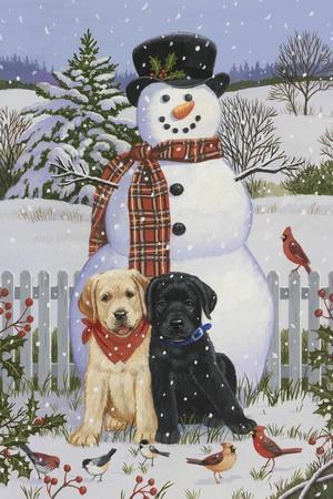 Backyard Snowman with Friends-William Vanderdasson-Stretched Canvas Print
