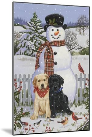 Backyard Snowman with Friends-William Vanderdasson-Mounted Giclee Print